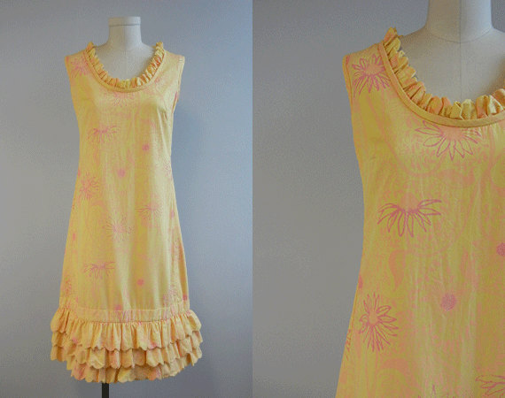 Vintage Lilly Pulitzer Dress / 1960s Ruffled Sundress Pale Yellow Pink Peach Sherbet by zestvintage