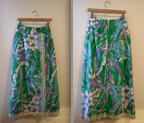 1970s Floral Maxi Skirt / Lilly Pulitzer Inspired by DollyMaeVintage