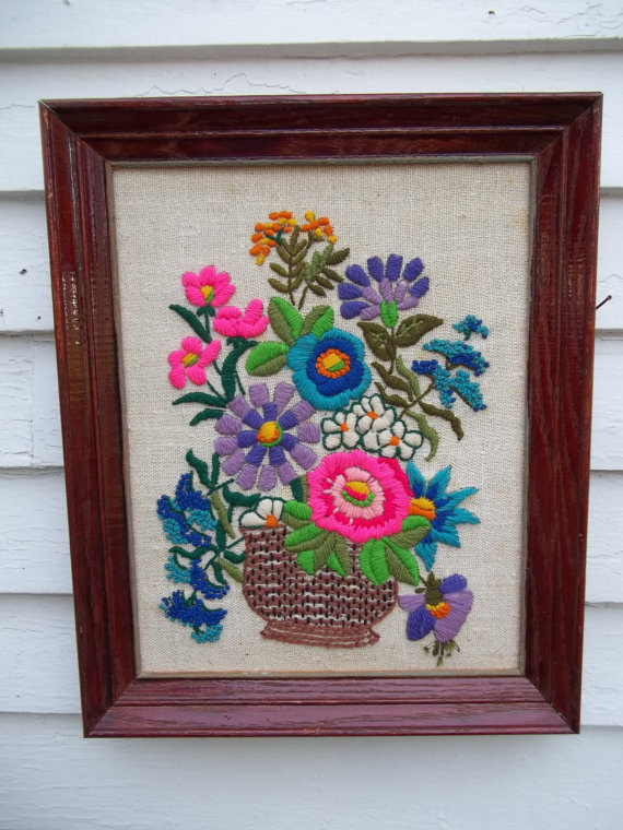 Vintage Crewel Embroidery Framed Flower Picture by ssmith7157