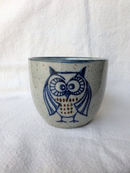 vintage tiny blue owl flower pot by fairandfreckled