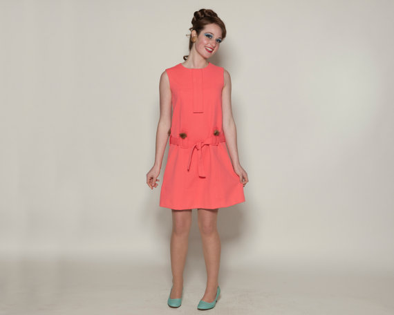 Vintage 1960s Mod Mini Dress Coral Pink Autumn Haze Mink Trim by  AlexSandras