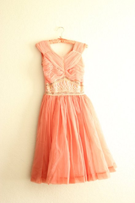 coral 1950's sequined sleeveless dress by thezogettie