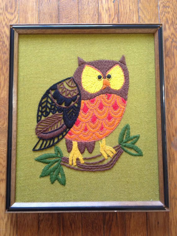 1970's Owl Needlepoint Picture by DumpstrDivingDiva
