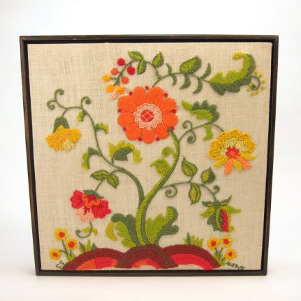 Vintage flower tree crewel embroidery - Jacobean inspired - framed - orange - yellow - green by RecentHistory