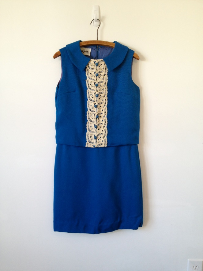 vintage 60s mod mad men blue linen and lace dress m by vintspiration