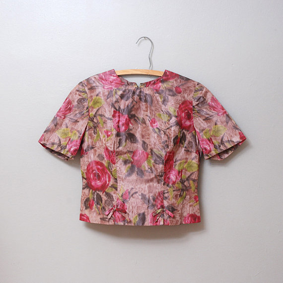 1950s Blouse - Rose Print Shell Top by OldFaithfulVintage