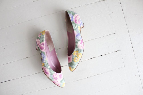 floral heels / floral shoes size 7.5 by  allencompany
