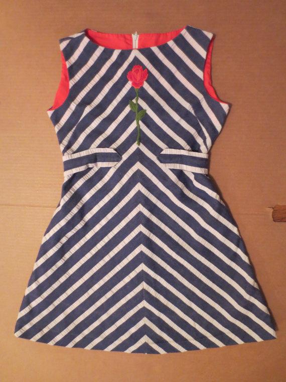 SAILOR STRIPES mod mini dress - red rose - Ruth of Carolina XXS by  johnnybombshell