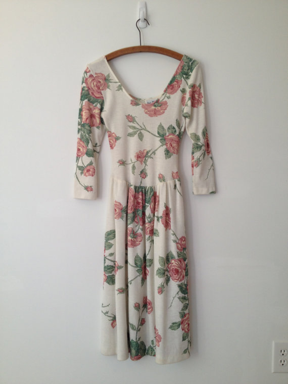 vintage 90s cream knit rose print princess dress xs s by vintspiration