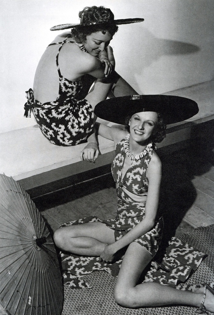 1935 - Bathing Suits and Shade Hats by Jacques Heim - Photo by Horst P. Horst (German-American, 1906-1999)