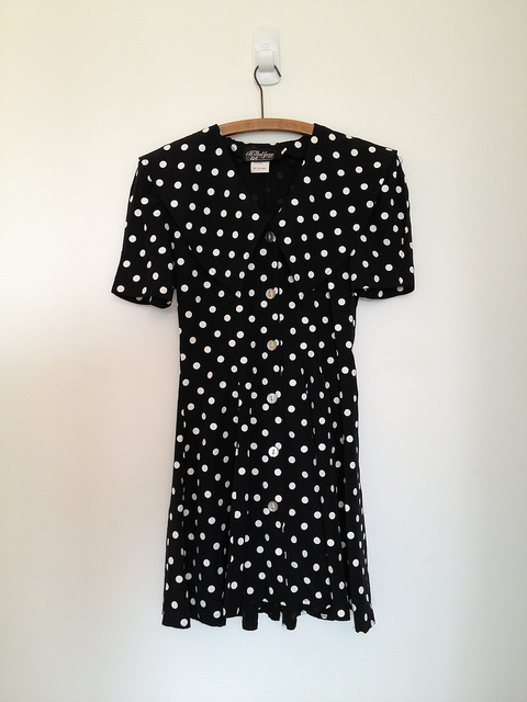vintage black and white polka dots mini sailor dress s m by vintspiration