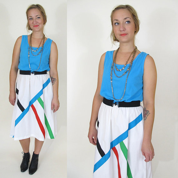 Vintage Modern Color Block Dress, Medium / Large by DUSKtillDAWNvintage