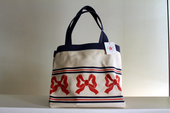 Vintage Americana Red Bow Tote by peppermintboutique