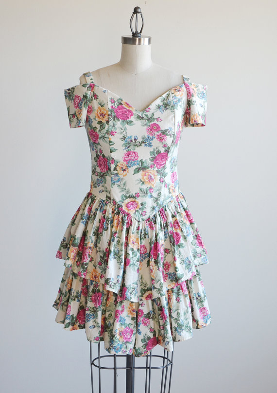 Vintage 1980s ALL THAT JAZZ bustier floral dress. by thetailorsstories