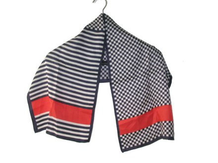 Vintage Navy , White & Red Sailor Check and Stripes Long Scarf by AmyVintagetreasures