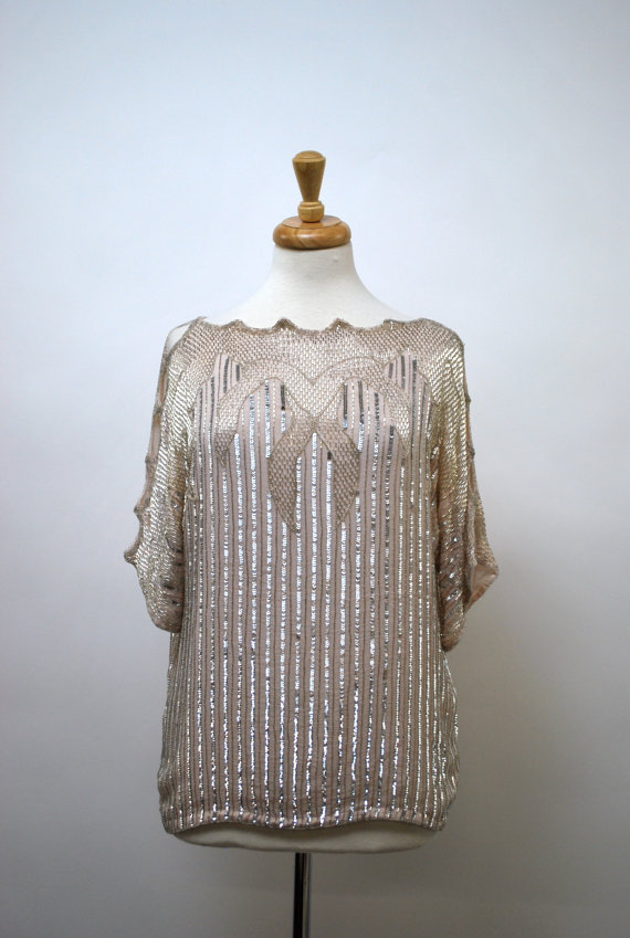 1980's Judith Ann Cream Silk Beaded and Sequined Blouse - size medium by govintagego