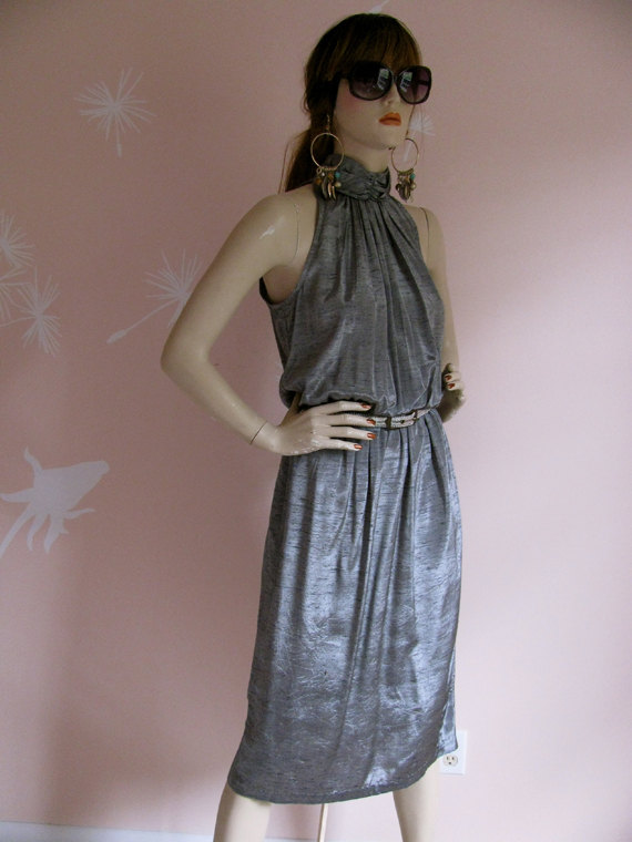 Liquid Silver Vintage 1980s Metallic Silver Sleeveless Party Dress by gracevintage