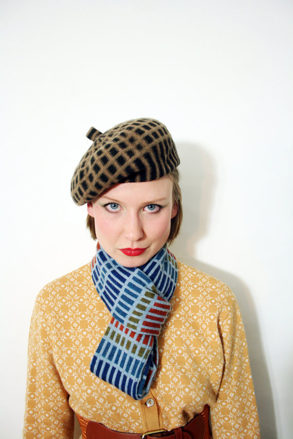 Vintage Brown and Tan Wool Cage Pattern Beret Hat by BoBoVintage