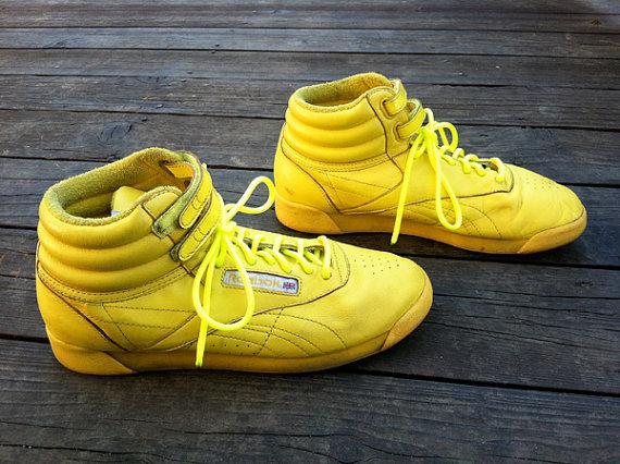 Neon Yellow Reebok Freestyle Hi-Tops by yardshow