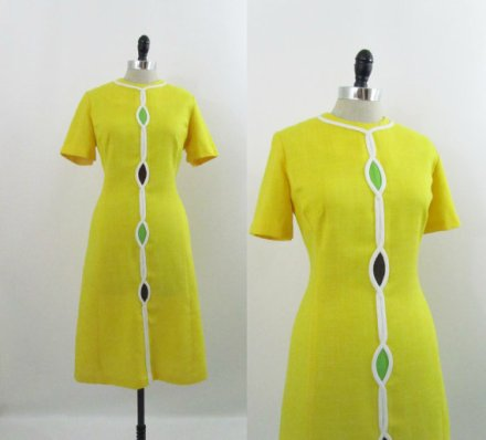 Vintage 1960s Dress Mod Yellow Helix Shift M L by 4birdsvintage