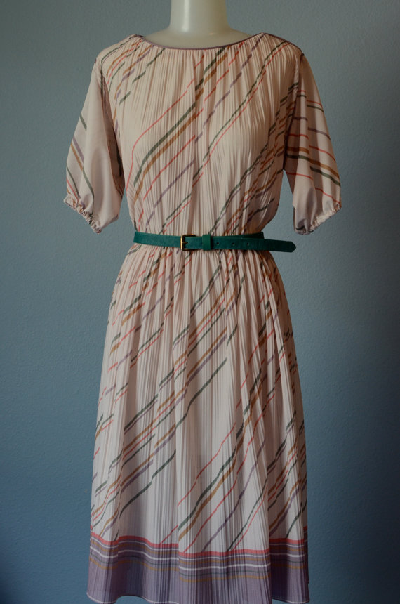 80s Beige Short Sleeve Stripe Micro Pleated Dress-Large by FaithLoveVintage