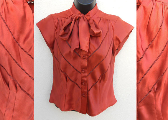 70s Rust Satin PUSSY BOW Secretary Top by BabyStrangeVintage