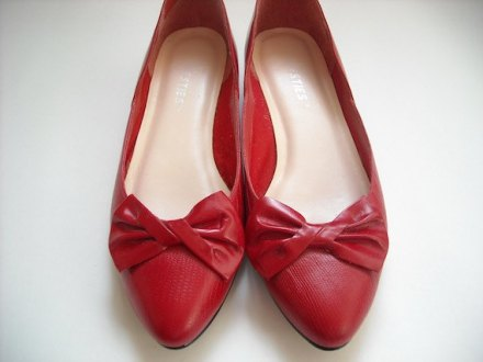 Vintage Red Bow Flats 9 by Baxtervintage