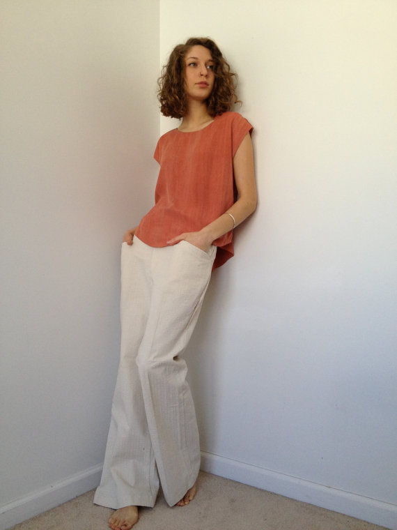 vintage 70s new off white cotton wide leg trousers m by vintspiration