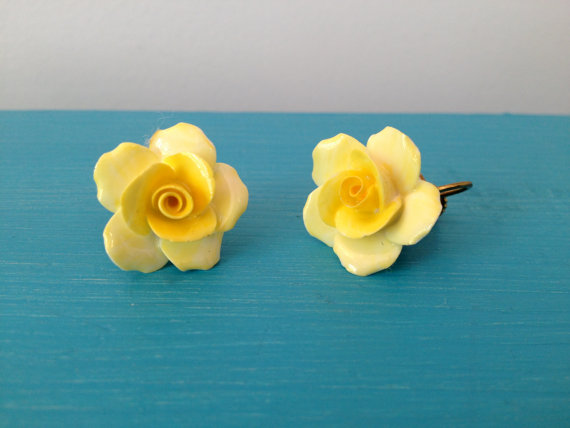 vintage 50s denton fine china yellow roses earrings by vintspiration