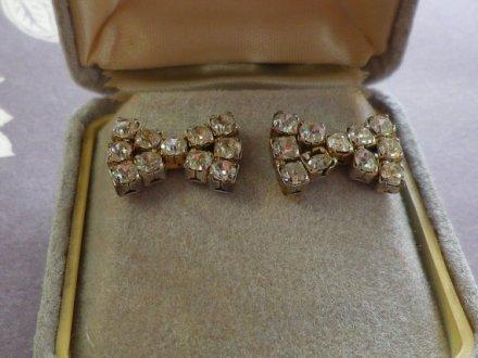 Vintage Diamante Bow Earings for Pierced Ears by EternalElementsEtsy