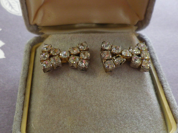 Vintage Diamante Bow Earings for Pierced Ears by EternalElementsEtsy