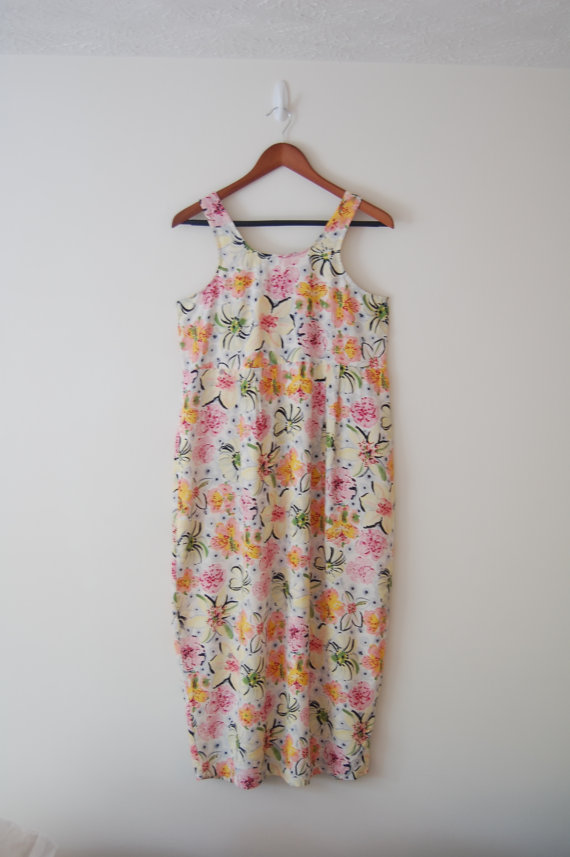 Vintage 90s Simply Floral Maxi Dress M by JolynnsCloset