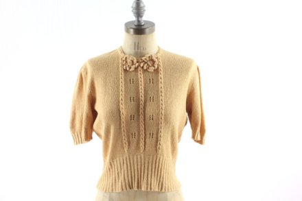 30s Pink Sweater Blouse . Spring Knit . Medium by snootieseconds
