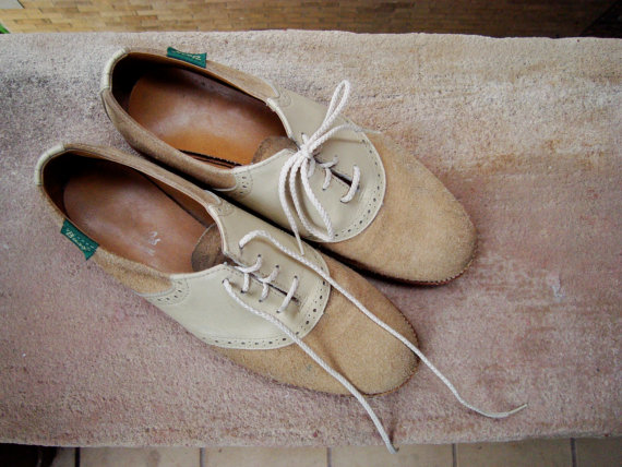 Saddle Shoes // Suede Leather // White Cream Tan Brown // 8 - 8.5 by muskymink