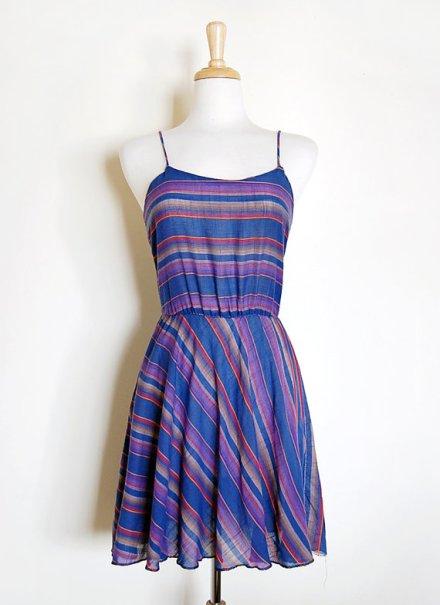 1970s 70s Blue Purple Baja Striped California Summer Tank Dress Size S by cutxpaste