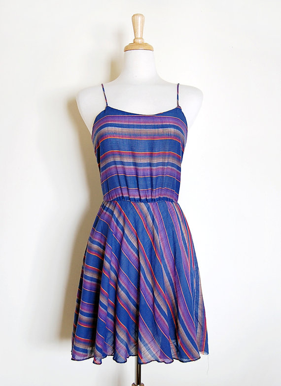 1970s 70s Blue Purple Baja Striped California Summer Tank Dress Size S by cutxpaste