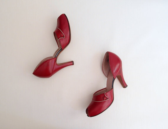 40s-50s Red Leather D'Orsay peep-toe babydoll Heels with winged vamps by vintagewise