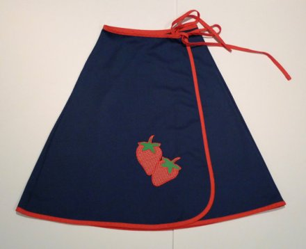 Navy Wrap Skirt Strawberry appliqué 70s retro strawberries red white blue retro vintage red trim by plattermatter