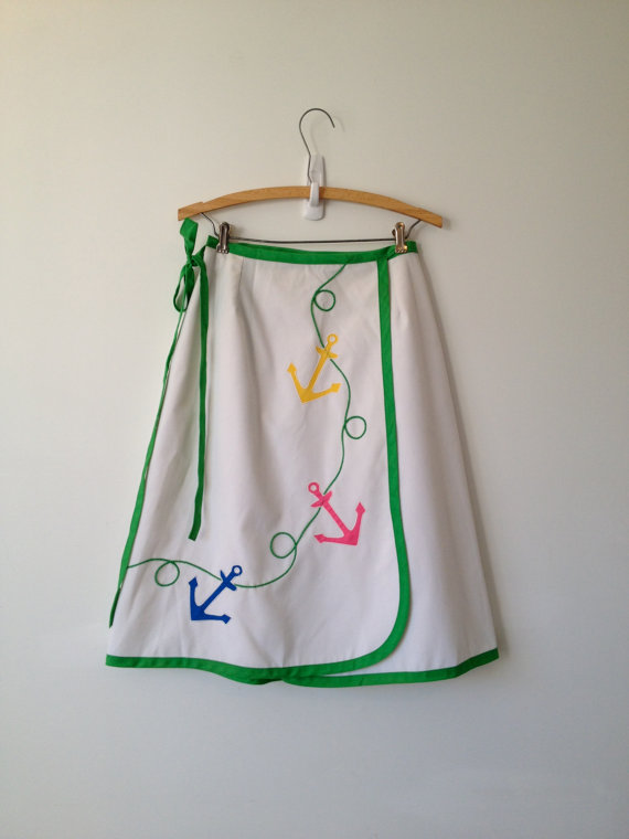 .vintage 80s nautical anchor applique wrap skirt s m by vintspiration