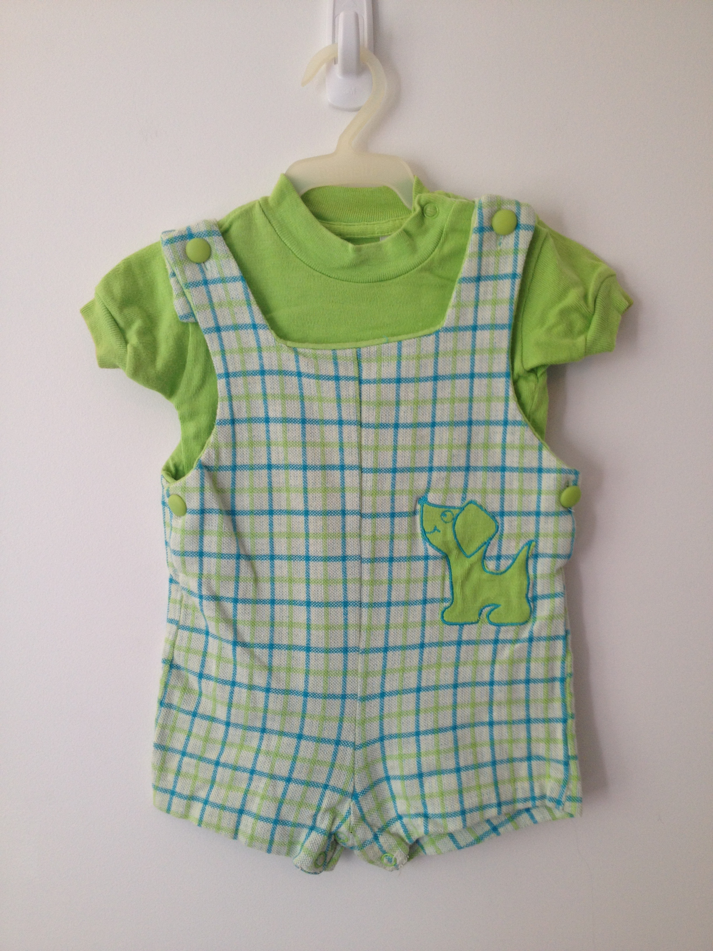 vintage 60s baby plaid puppy blue green romper tshirt set sz 12 mo