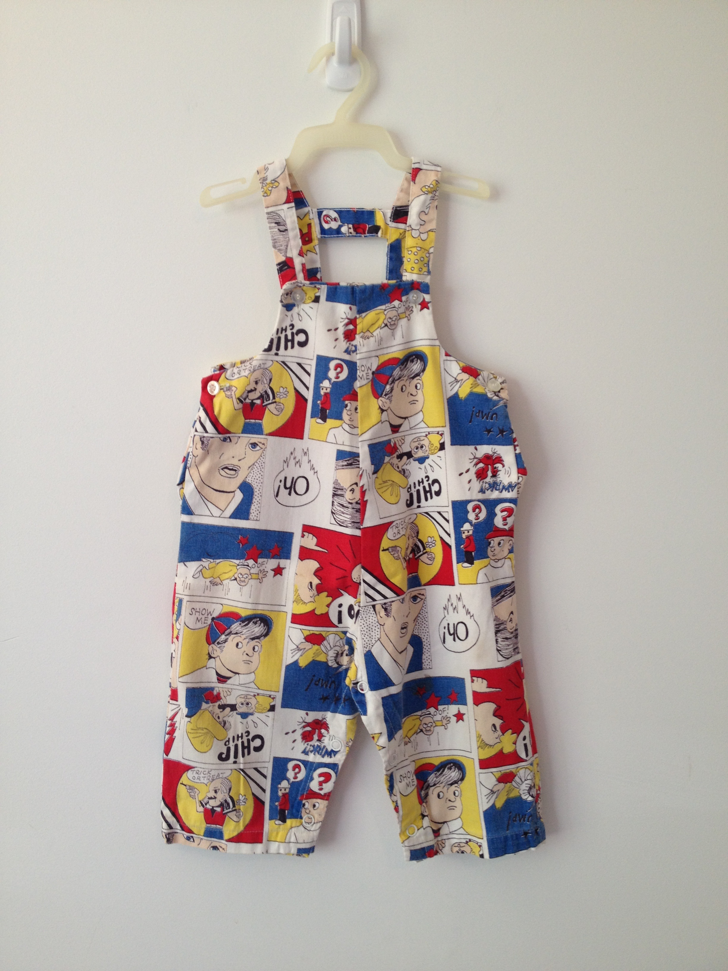 vintage 60s pop art roy lichtenstein inspired comic overalls 2T