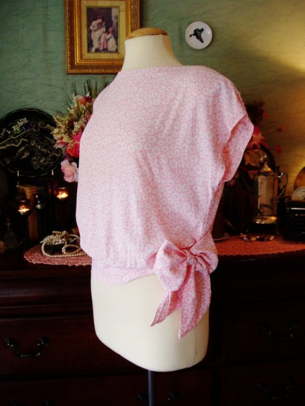Baby Pink Polka Dot Floral Summer Short Sleeve Shirt with Bow Tie Waist by Lady Carol Size L 14 by SwampLilyEmporium
