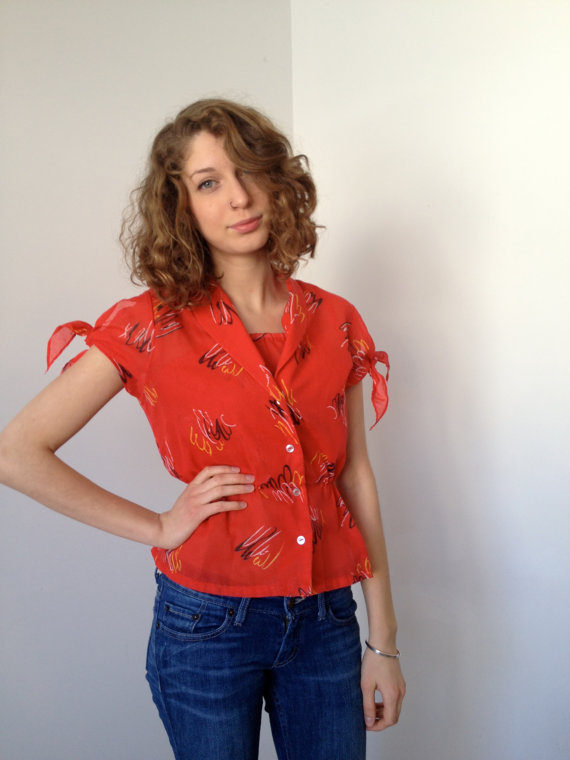 vintage 70s pinup two piece sun top s by vintspiration
