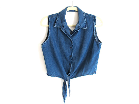 Denim Cropped Top - Tie-shirt. Cut-out. Blue-denim. 80s. VTG. 90s. Grunge. Folk. Womens - Sleeveless Top by alacloth