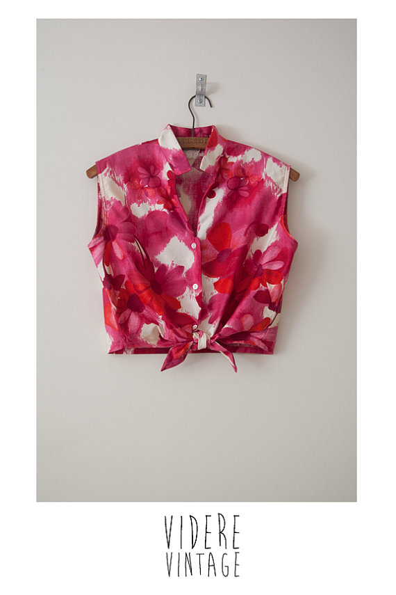 Vintage 1960s Pink and Red Floral Crop Tie Top S/M by VidereVintage