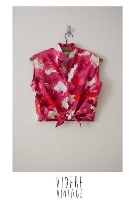 Vintage 1960s Pink and Red Floral Crop Tie Top S/M by VidereVintage