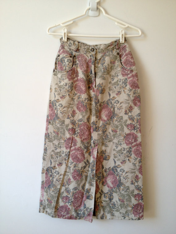 vintage 90s faded rose floral print pencil skirt xs by vintspiration