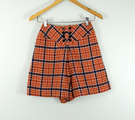 SALE Mod wool shorts . orange navy plaid . twiggy size . Bobbie Brooks . preppy. xs teen by BeAtSaNdBoHoS