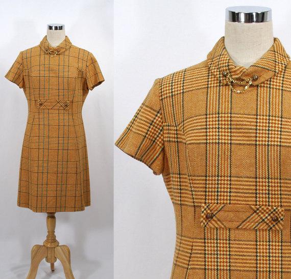 Vintage 70s BOBBIE BROOKS Butterscotch Plaid Dress - Wool - Office Fashion by ParkwaterPrincess