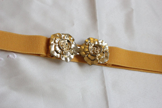 Mustard Yellow Elastic Belt with Rose Buckle by ClementinesBoutique